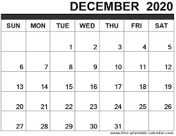 December 2020 Calendar Printable Free Printable Calendar Com