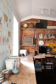 cool home office design. Attic Home Office With Exposed Brick Walls Cool Design M