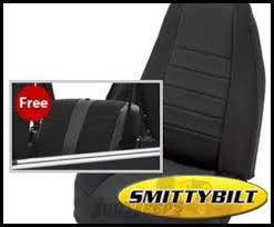 smittybilt neoprene front and rear seat cover kit in black for 2003 06 jeep wrangler tj