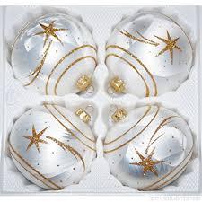 4 Tlg Glas Weihnachtskugeln Set 12cm ø In Ice Weiss Gold