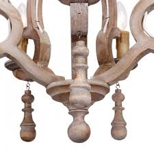caister 5 light candle wooden chandelier distressed antique white