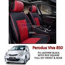 car seat cover case pu leather black red square perodua viva 850