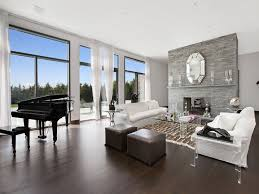 dark wood floor grey walls living room