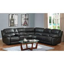 charcoal gray leather match 6 piece reclining sectional sofa monticello