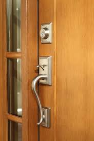 Brilliant Front Door Hardware Craftsman Brushed Nickel Handle Set On Clopay Collection Throughout Creativity Ideas