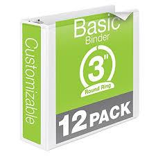 Binder 3 Inch Wilson Jones Round Ring View Binder 3 Inch Basic Customizable White 12 Pack W362 49wpk