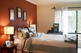 warm blue walls color schemes bedroom accent wall brown mounted