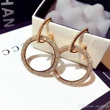 rhinestone hoop earrings for lady fashion luxury chandelier stud personality gold and silver earring huggie stud for girl rhinestone hoop earrings fashion