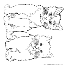 The cat is a proud, independent animal and is sometimes a bit temperamental! Two Cute Cats Color Page Animal Coloring Pages Cat Coloring Page Coloring Pages