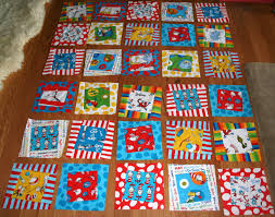 Gone Aussie Quilting: Dr. Seuss Quilt Wonky Quilt Top Finished & Do you remember way back when I posted about this quilt here? I came up  with this design for these fabrics. Dr. Seuss + Wonky = Perfect. Right? Adamdwight.com