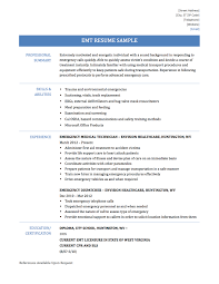 emt resume emt resume samples and templates emergency medical technician