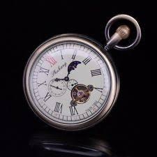 wind up pocket watch retro brass moon phase tourbillion open face wind up pocket watch fob for men