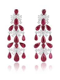 chopard chandelier earrings set with pear shaped rubies and diamonds