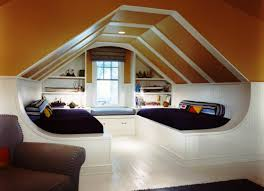Modern Attic Kids Bedroom Design With Double Bed Which Has Within - Double bedroom