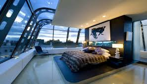 Image Mansion Incredible Skyline Bedroom Showcasing The Outside World Gentlemans Gazette Masculine Bedroom Decor Gentlemans Gazette