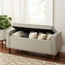better homes gardens flynn mid century modern upholstered storage bench hayneedle