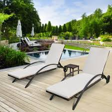 patio chaise lounge chairs. IKayaa 3PCS Rattan Wicker Patio Chaise Lounge Chair Set Furniture Adjustable Back Outdoor Sun Lounger + Iron Frame Sales Online - Tomtop Chairs R