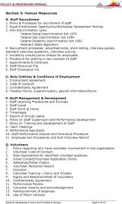 guide to developing an organisational policy procedures manual pdf recruitment processes advertisements short listing interview panels standard interview questions