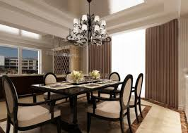 elegant dining room lighting. Dining Room Lighting Chandeliers Decorating Formal Area With Laminate Dark Table And Cozy Chairs Under Elegant Wallpaper