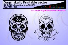High resolution, ready to print. Sugar Skull Silhouette Graphic By Arcs Multidesigns Creative Fabrica