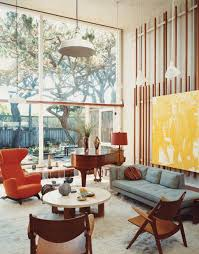 60s retro interior design style with small round table and wool rugs ideas