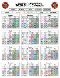 Firefighters Shift Calendar 2020 Shift Calendars Superstition Fire Medical District