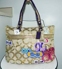 new coach poppy purses   NEW-COACH-POPPY-POP-C-APPLIQUE-15307-GOLD-OP-ART -SIGNATURE-GLAM-BAG .
