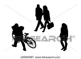 People Walking Top View Silhouettes Set 7 Stock Illustration