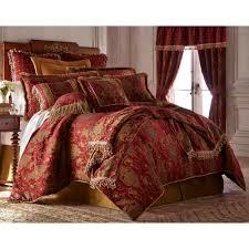 comforter set 4 piece king size red gold fl bedroom bedding linen skirt sham