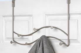 Brushed Nickel Coat Rack Over the Door Hooks and Hangers OrganizeIt 100