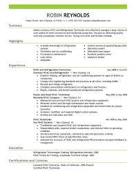Examples Of Hvac Resumes Examples Of Resumes