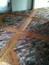 ungrouted brick veneer faces finished kitchen floor