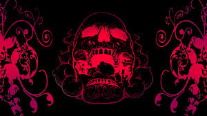 4k red skull flowers black background image 2763 licence free for personal