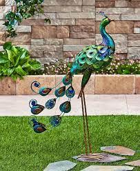 colorful metal metallic peacock garden