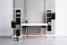 home office simple neat. Simple Minimalist Home Office Design With Hanging Storage And Black Cubical Potted Plants Neat I