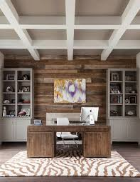 home office office wall. Reclaimed Wood Accent Wall For The Transitional Home Office [Design: BK Design Studio / L