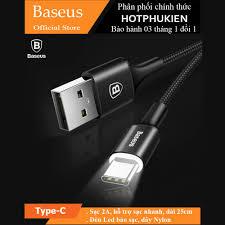 Dây cáp sạc USB Type-C hiệu BASEUS dài 25cm trang bị đèn LED chiếu sáng -  Hàng chính hãng
