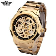 skeleton men watch promotion shop for promotional skeleton men winner brand watches men mechanical skeleton wrist watches fashion casual automatic wind watch gold steel band relogio masculino