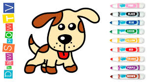 how to draw dog coloring book for kids learning painting with colored markers