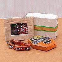 soon teakwood kalimba and tambourine kiva al gift set 3 pieces