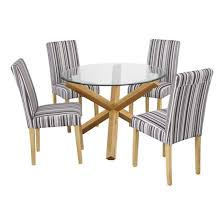 oporto round glass dining table with 4 lorenzo and chairs prepare 8