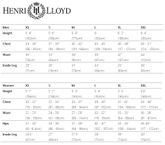 Henri Lloyd Brand Specific Size Guides Size Guides