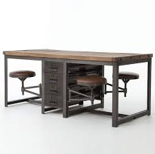modern wood furniture. Rupert Industrial Architect Work Table Desk With Attached Seating Modern Wood Furniture