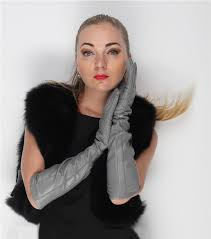 47cm 18 5 long elbow length long lines style top goat leather gloves eveniing long leather gloves