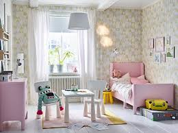ikea girls bedroom furniture. A Pink, White And Yellow Children\u0027s Bedroom With Extendable BUSUNGE Bed In Light Pink To Ikea Girls Furniture