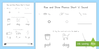 What is the phonics short oo sound and the phonics long oo sound? Rise And Shine Phonics Short O Sound Morning Worksheet