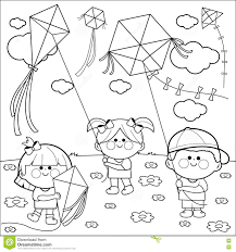 Small Picture Children Flying Kites Coloring Book Page Stock Vector Image