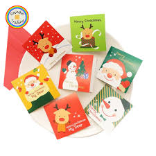 Jhyl211 Rdt Small Folding Christmas Greeting Cards Korean Cute Cartoon Mini Blessing Cards With Envelop For Christmas Day Gift Buy Small Greeting