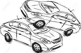 Sketch of two cars in an accident isolated on a white background