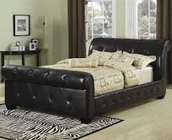 upholstered leather sleigh bed. Upholstered Leather Sleigh Bed T